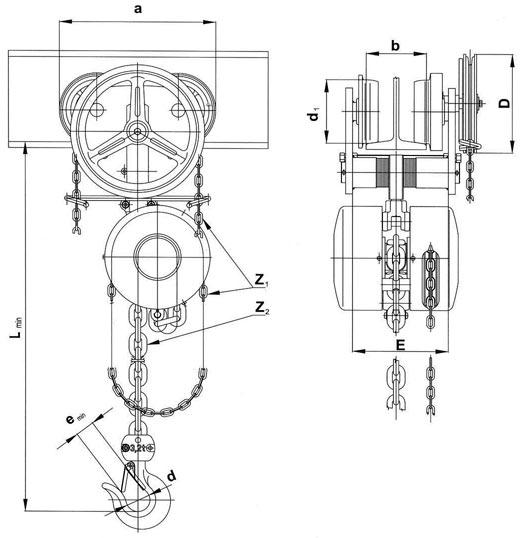 Таль ручная передвижная типа Z 210 - схема